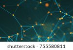 abstract connection dots.... | Shutterstock . vector #755580811