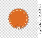 orange circle sticker or tag...   Shutterstock .eps vector #755582875