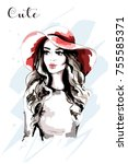 hand drawn beautiful woman in... | Shutterstock .eps vector #755585371