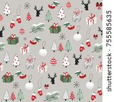merry christmas cartoon doodle... | Shutterstock .eps vector #755585635
