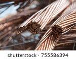 copper metal scrap  copper cable | Shutterstock . vector #755586394