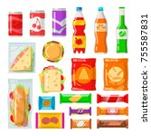 vending machine products. tasty ... | Shutterstock .eps vector #755587831