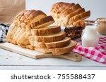 fresh homemade  baked bread and ... | Shutterstock . vector #755588437