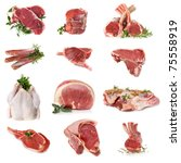 cuts of raw meat  isolated on... | Shutterstock . vector #75558919