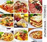 collage of various italian... | Shutterstock . vector #75558922