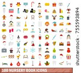 100 nursery book icons set in... | Shutterstock . vector #755593894