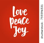 christmas card with love peace... | Shutterstock .eps vector #755596531
