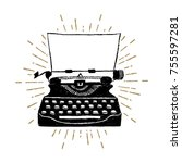 hand drawn retro typewriter... | Shutterstock .eps vector #755597281