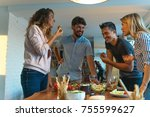 lunch with friends   Shutterstock . vector #755599627