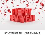 happy new year  3d text and... | Shutterstock .eps vector #755605375