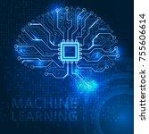 human brain on a digital... | Shutterstock .eps vector #755606614