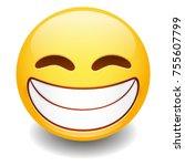 grin expression emoji smiley... | Shutterstock .eps vector #755607799