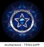 mystical  blue  patterned...   Shutterstock . vector #755611699