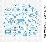 nordic style vector elements... | Shutterstock .eps vector #755612401