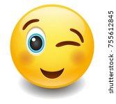 wink happy expression emoji...   Shutterstock .eps vector #755612845
