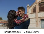 young couple having fun... | Shutterstock . vector #755613091