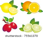 set of fruit. illustration on... | Shutterstock . vector #75561370