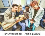 group of multiracial hipster... | Shutterstock . vector #755616001