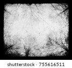 scary trees  grunge black scary ... | Shutterstock . vector #755616511