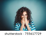 wow. close up portrait young... | Shutterstock . vector #755617729
