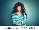 sad. young beautiful hispanic... | Shutterstock . vector #755617879