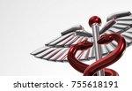 caduceus   medical symbol  3d... | Shutterstock . vector #755618191
