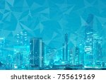 abstract line connection on... | Shutterstock . vector #755619169