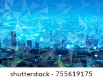 abstract line connection on... | Shutterstock . vector #755619175