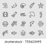 sea animals line icon | Shutterstock .eps vector #755623495