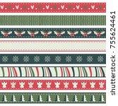 set of christmas ribbons | Shutterstock .eps vector #755624461