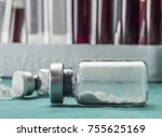 transparent vial with powdered... | Shutterstock . vector #755625169