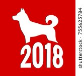 year of the dog  chinese zodiac ... | Shutterstock . vector #755625784