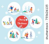 merry christmas background with ... | Shutterstock .eps vector #755626135