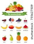the sweetest fruits. vector... | Shutterstock .eps vector #755627509