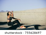 healthy female sitting outdoors ... | Shutterstock . vector #755628697
