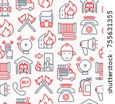 firefighter seamless pattern... | Shutterstock .eps vector #755631355