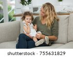 daughter calling grand mother... | Shutterstock . vector #755631829