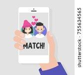 dating service  mobile...   Shutterstock .eps vector #755634565