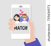 dating service  mobile... | Shutterstock .eps vector #755634571