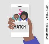 dating service  mobile... | Shutterstock .eps vector #755634604