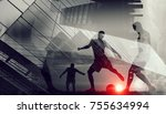 silhouettes of soccer players   Shutterstock . vector #755634994