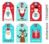 cute christmas cartoon... | Shutterstock . vector #755636899
