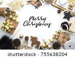 chrismas gold tone decoration... | Shutterstock . vector #755638204