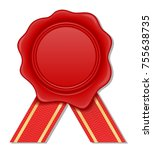 red wax stamp vector...   Shutterstock .eps vector #755638735