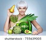 fashion girl with an abundance...   Shutterstock . vector #755639005