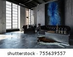 a contemporary  industrial... | Shutterstock . vector #755639557