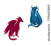 couple of dragon characters ... | Shutterstock .eps vector #755642845
