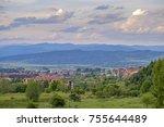 mountain panorama in bansko ... | Shutterstock . vector #755644489