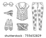hand drawn clothes set. fashion ... | Shutterstock .eps vector #755652829