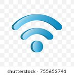 cute wifi icon on transparent... | Shutterstock .eps vector #755653741